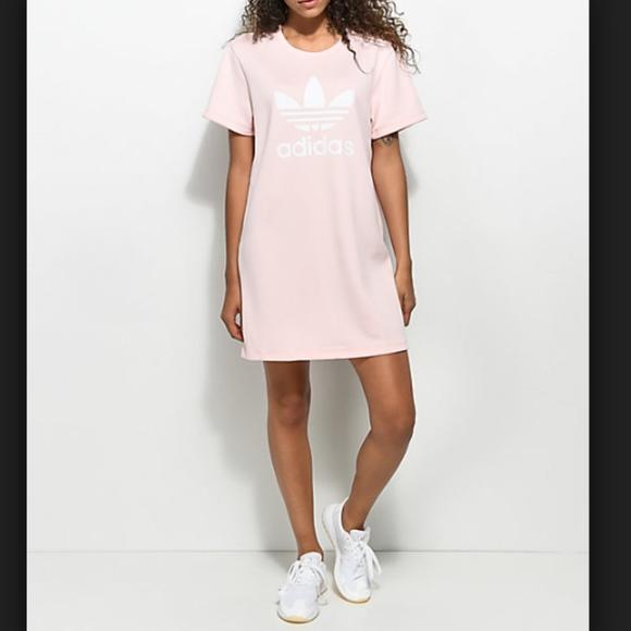 186c9e47ac4 adidas Dresses | Trefoil Womens Casual Tee Dress Pink Blush | Poshmark